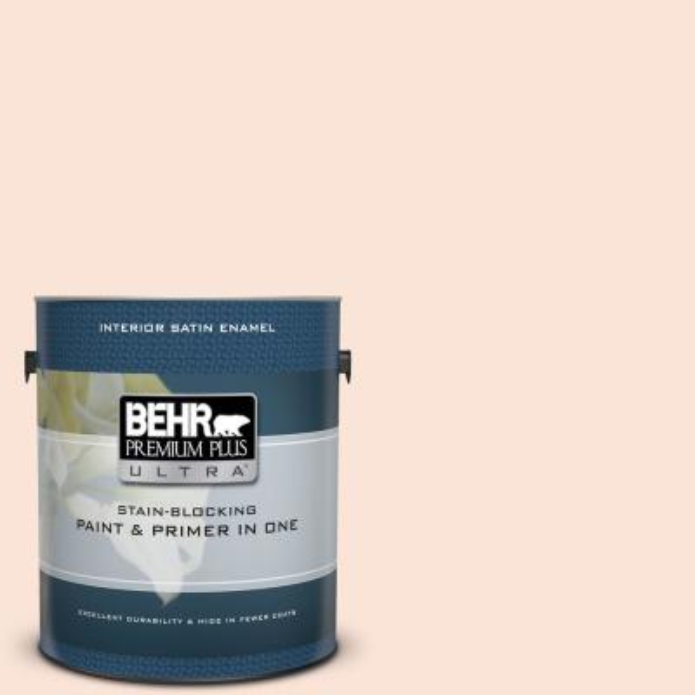 Behr Premium Plus Ultra 1 Gal M270 3 Cream Custard Satin Enamel Interior Paint And Primer In One 775001 The Home Depot