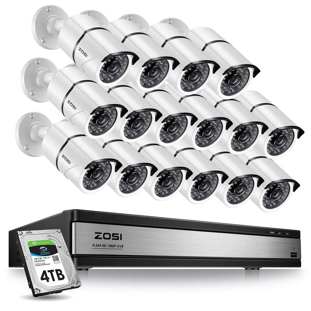 ZOSI 16-Channel 1080p 4TB Hard Drive DVR Security Camera System with 16 Wired Bullet Cameras