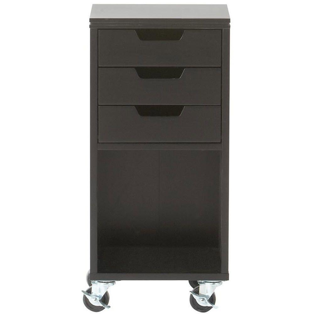 Home Decorators Collection Avery 13 in. W 3-Drawer MDF Single Bin Mobile Cart in Black