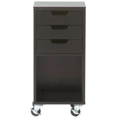 Avery 13 in. W 3-Drawer MDF Single Bin Mobile Cart in Black