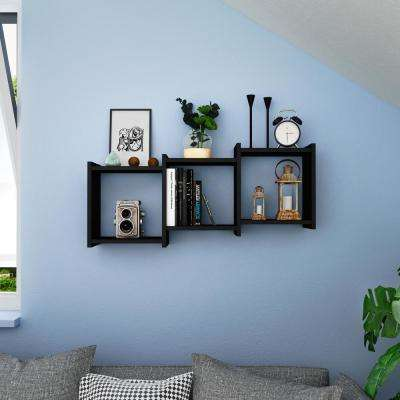 Bauhaus Black MDF Wood 3-Cube Floating Wall Shelf