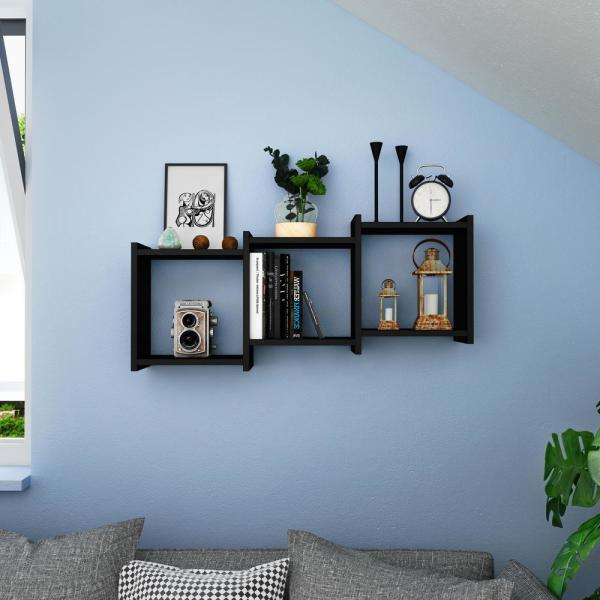 DANYA B Bauhaus Black MDF Wood 3-Cube Floating Wall Shelf XF170502BK