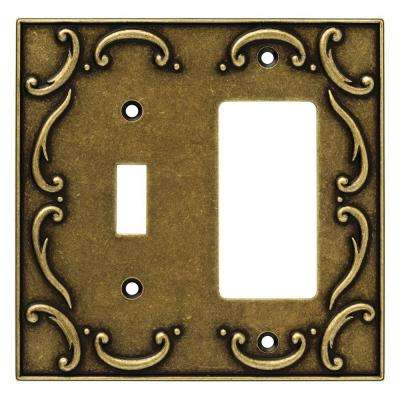 French Lace Decorative Switch and Rocker Switch Plate, Burnished Antique Brass