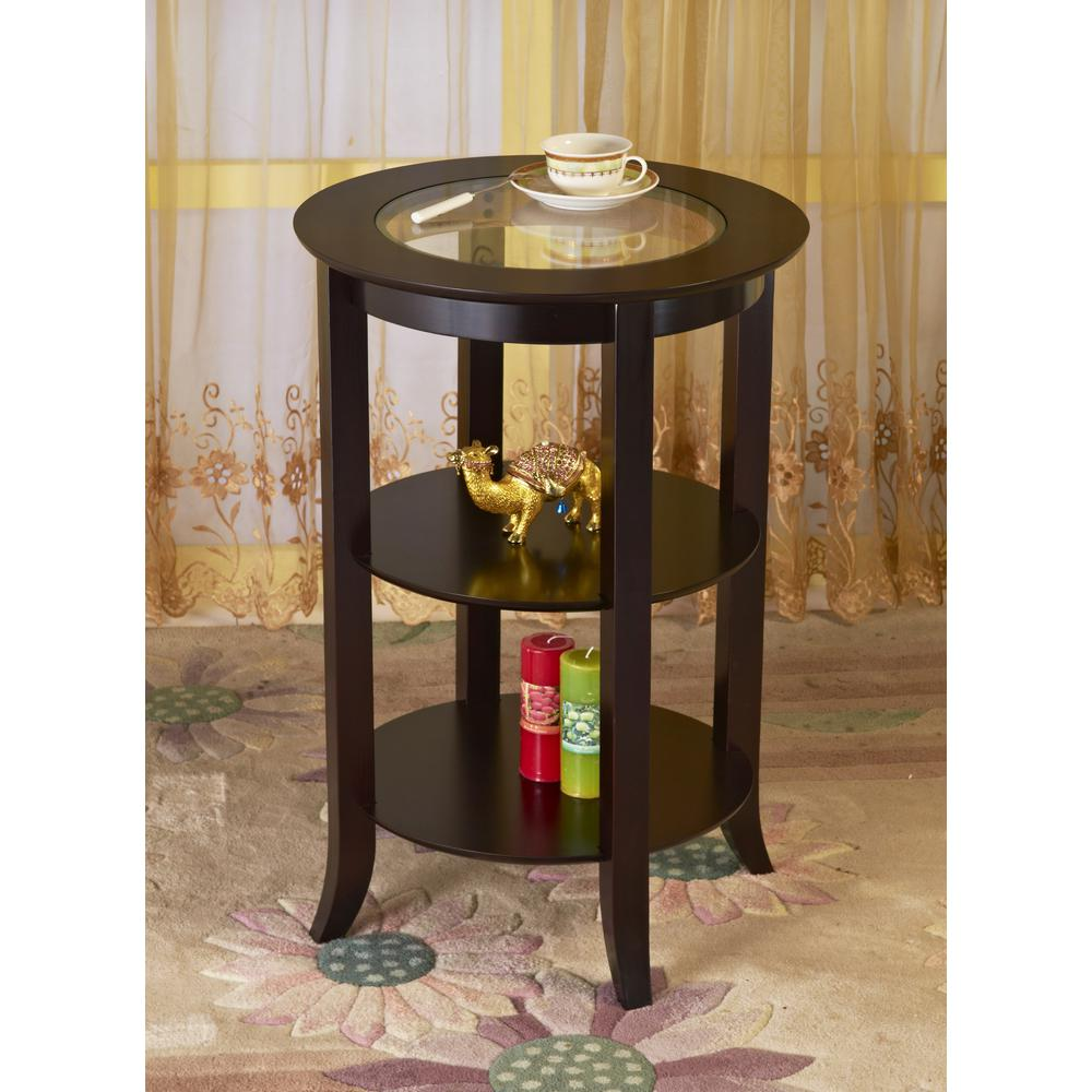 Stylish Glass Top End Table 2 Shelves Living Room Decor Espresso Bronze Finish