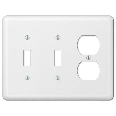 Declan 3 Gang 2-Toggle and 1-Duplex Steel Wall Plate - White