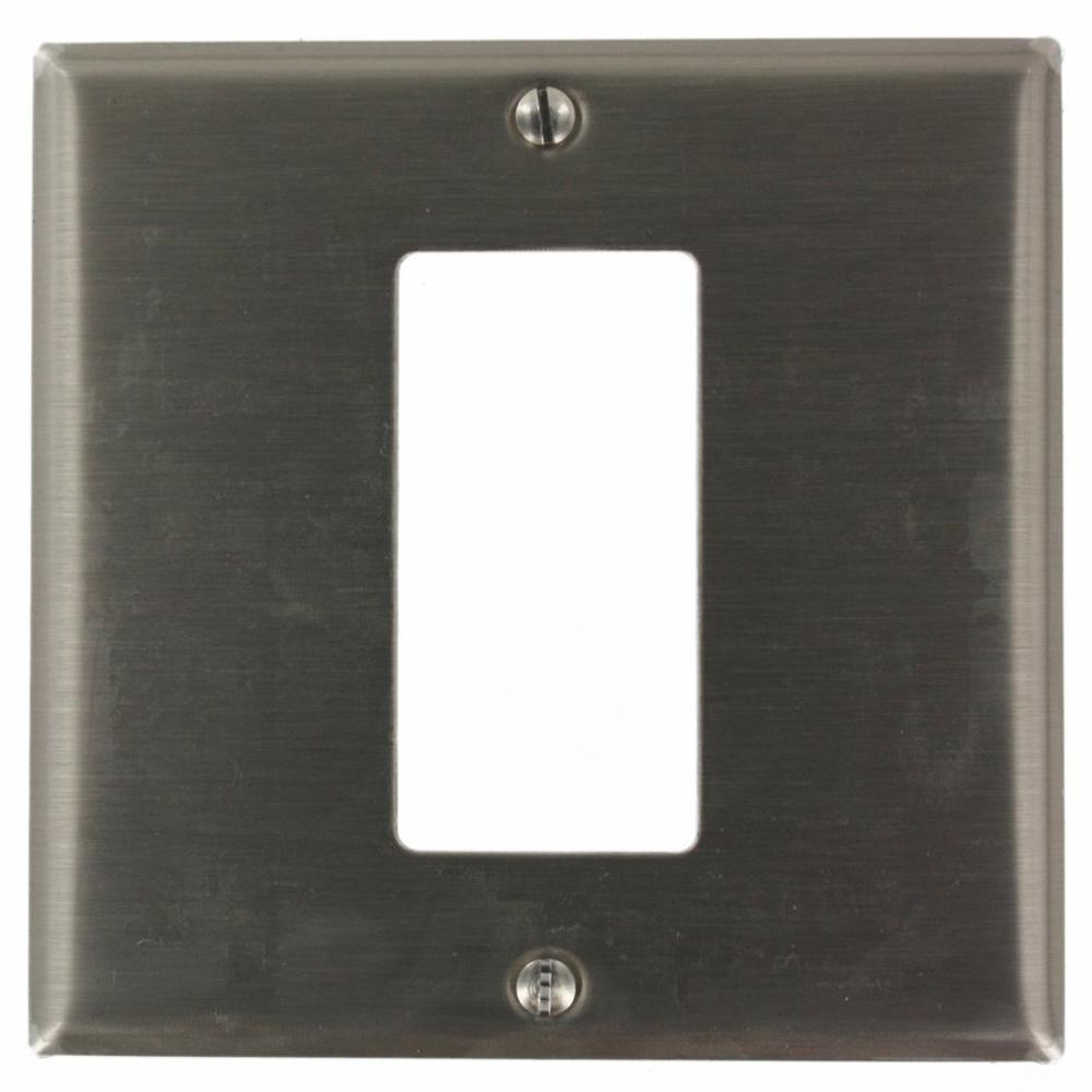 2-Gang 1-Decora/GFCI Centered Device Decora Wall Plate, Stainless Steel