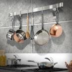 Enclume Handcrafted 36 in. Rolled End Bar with 4 in. Wall Brackets and 6-Hooks Stainless Steel