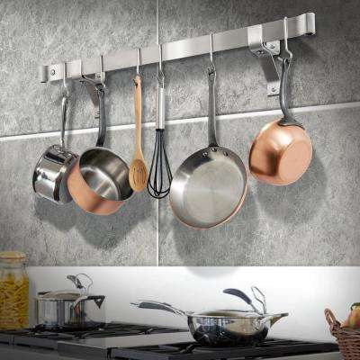 Handcrafted 36 in. Rolled End Bar with 4 in. Wall Brackets and 6-Hooks Stainless Steel