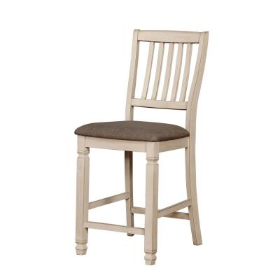 Nina Antique White Fabric Slat Counter Height Chair (Set of 2)