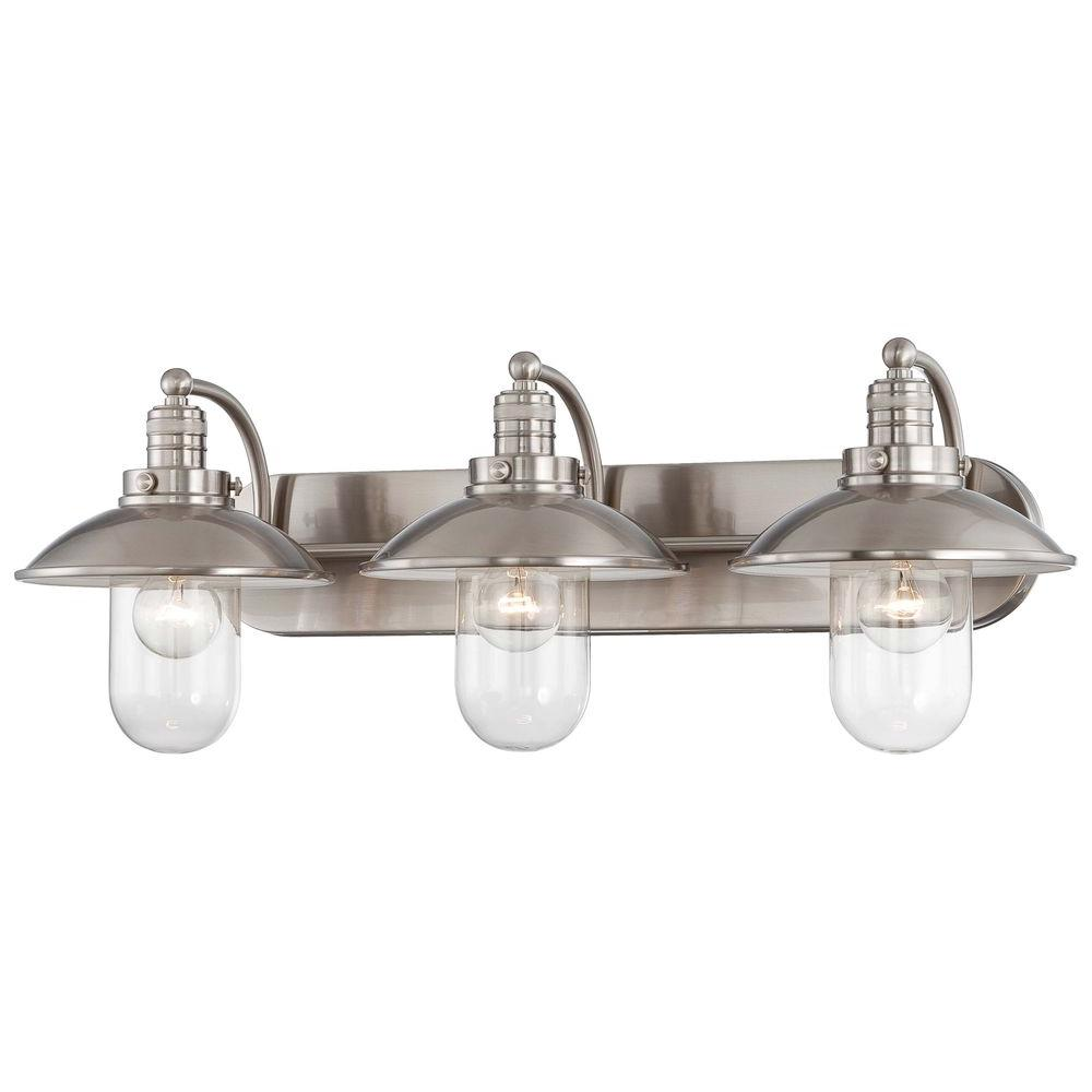 Bon Minka Lavery Downtown Edison 3 Light Brushed Nickel Bath Light