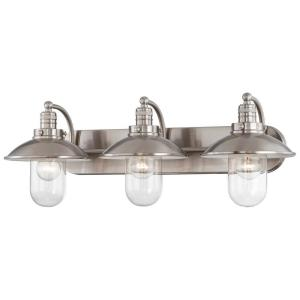 Downtown Edison 3-Light Brushed Nickel Bath Light