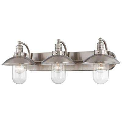 Downtown edison 3 light brushed nickel bath light