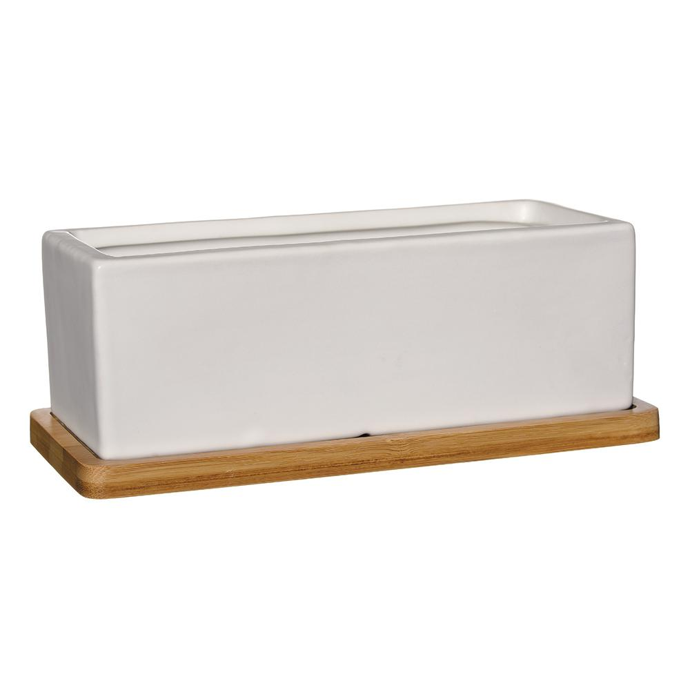 Nova 8.5 in. White Ceramic Rectangle Planter with Tray