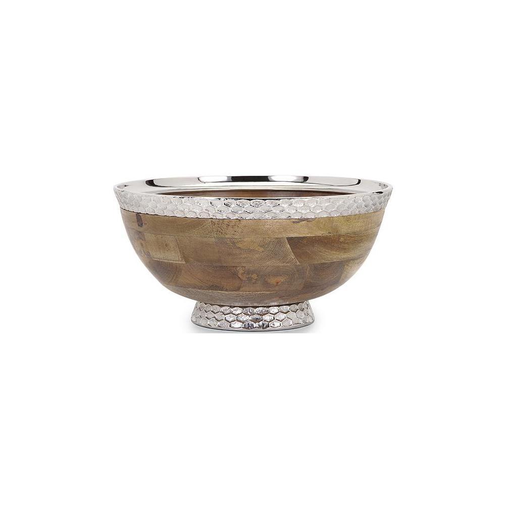 Pedestal 7.5 in. Natural Decorative Bowl