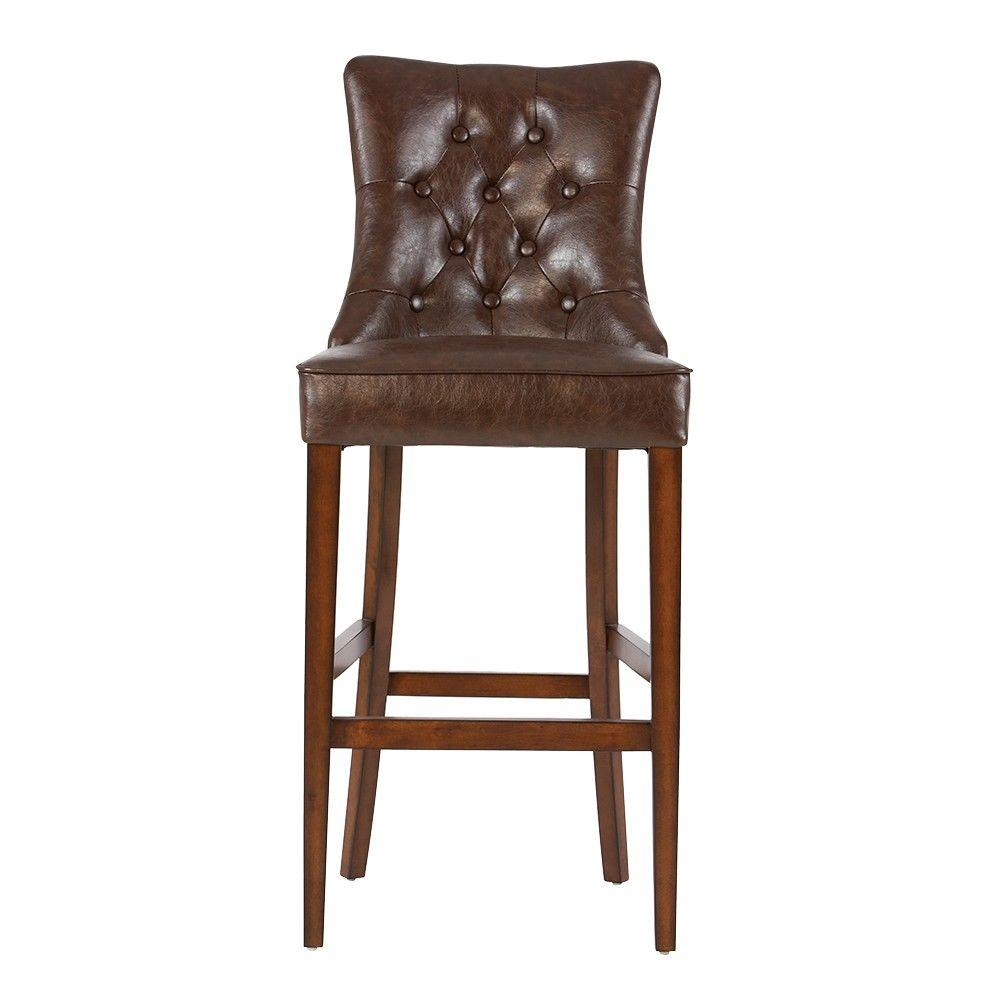 HomeDecoratorsCollection Home Decorators Collection Rebecca 31 in. Brown Cushioned Bar Stool in Antique Cherry with Back, brown leather with burlap
