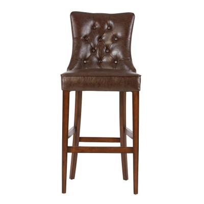 Rebecca 31 in. Brown Cushioned Bar Stool in Antique Cherry with Back