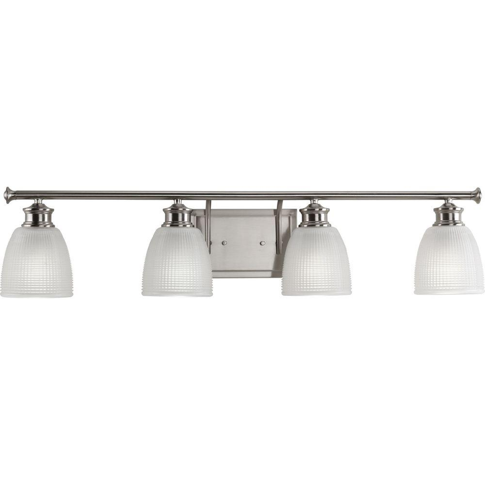 Progress Lighting Lucky Collection 4-Light Brushed Nickel Bathroom Vanity Light with Glass Shades