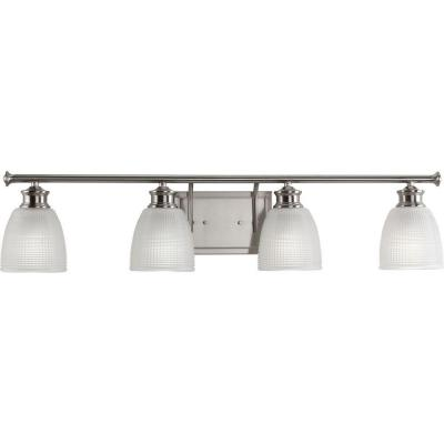Lucky Collection 4-Light Brushed Nickel Bathroom Vanity Light with Glass Shades