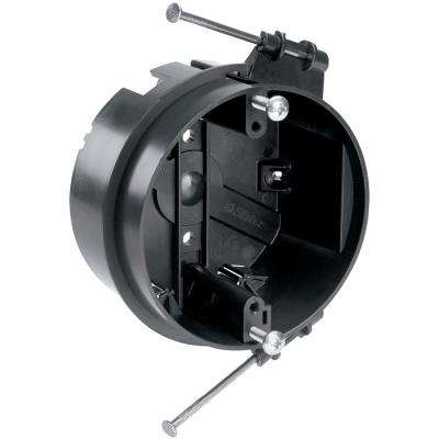 Slater New Work Plastic 4 in. Round Ceiling Box with Captive Mounting Nails and Auto/Clamps