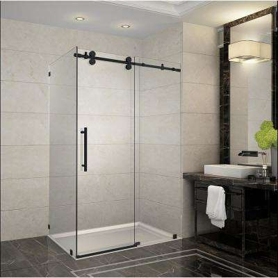 Langham 44 in. - 48 in. x 33.8125 in. x 75 in. Frameless Corner Sliding Shower Door in Matte Black