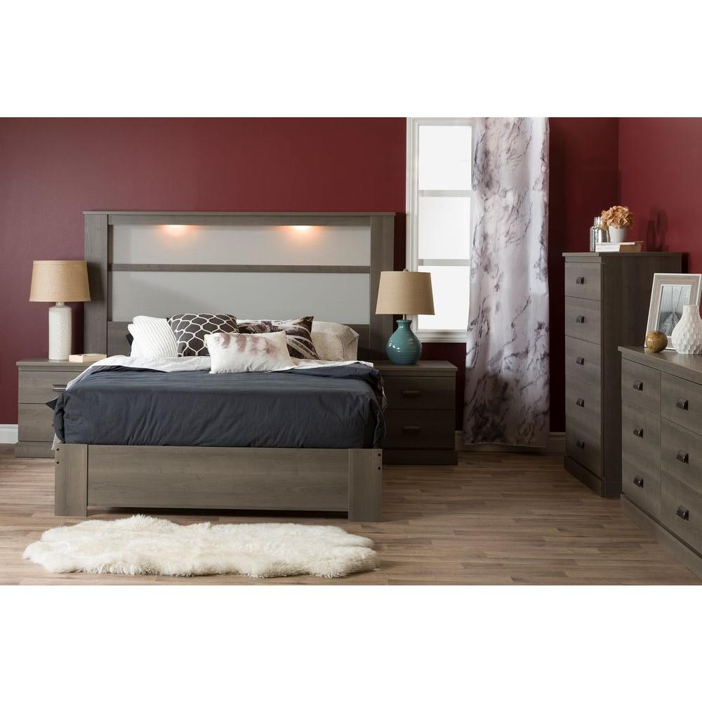South Shore Gloria 5 Drawer Gray Maple Chest