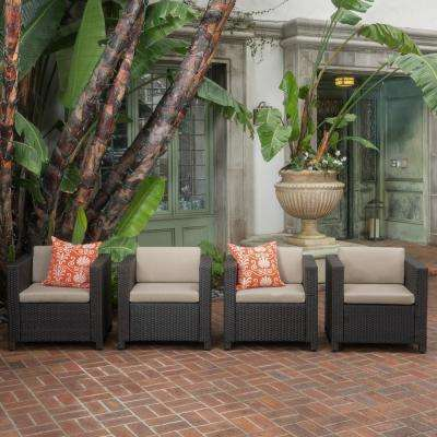 Puerta Dark Brown Stationary Wicker Outdoor Lounge Chair with Beige Cushion (4-Pack))