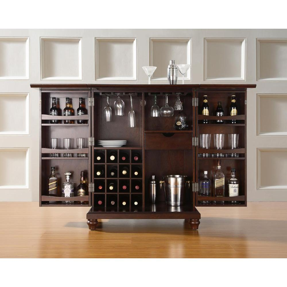Crosley Cambridge Mahogany Bar With Expandable Storage