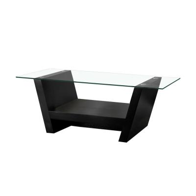 Vandella 47 in. Black/Clear Large Rectangle Glass Coffee Table with Shelf