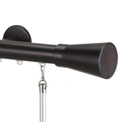 Tekno 25 Decorative 84 in. Traverse Rod in Maroon with Linea Finial