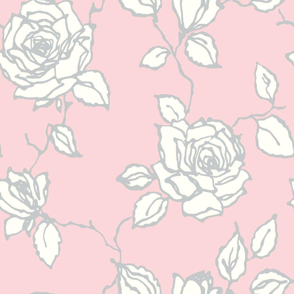 The Wallpaper Company 8 in. x 10 in. Vintage Rose Pink Wallpaper Sample