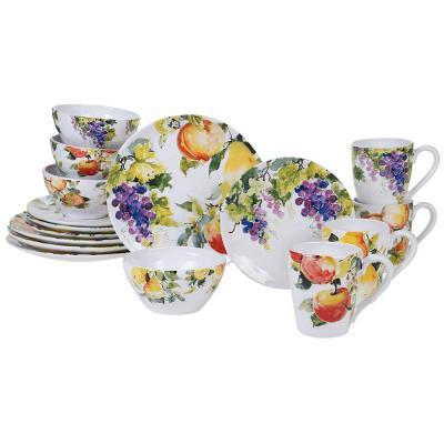 Ambrosia 16-Piece Seasonal Multicolored Earthenware Dinnerware Set (Service for 4)