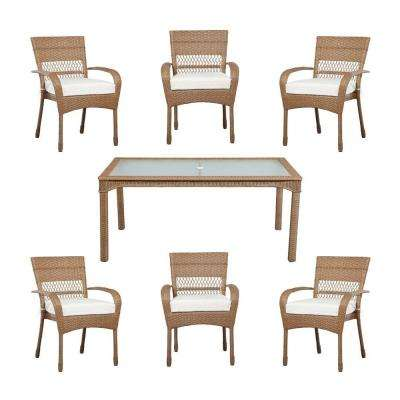 Charlottetown Natural All-Weather Wicker 7-Piece Patio Dining Set with Cushion Insert (Slipcovers Sold Separately)