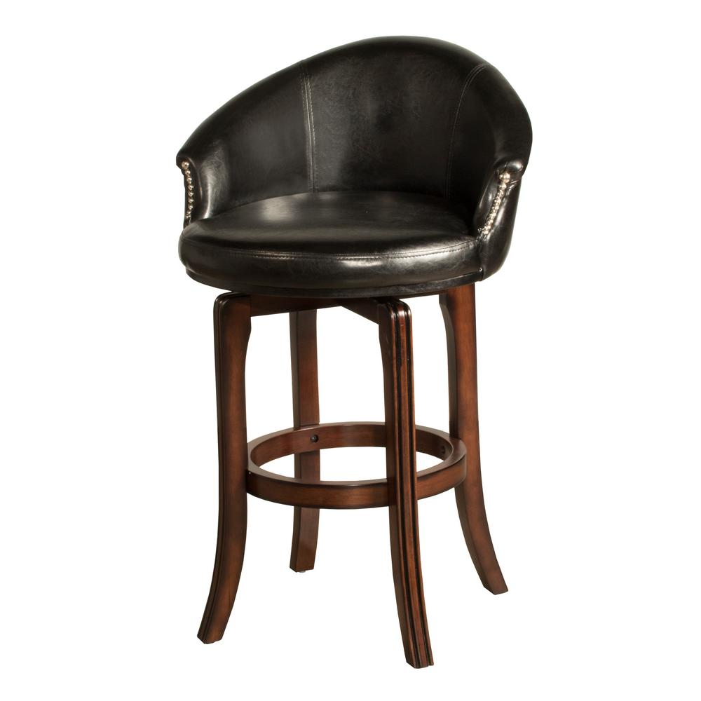Dartford 30 in. Dark Brown Cherry Swivel Cushioned Bar Stool