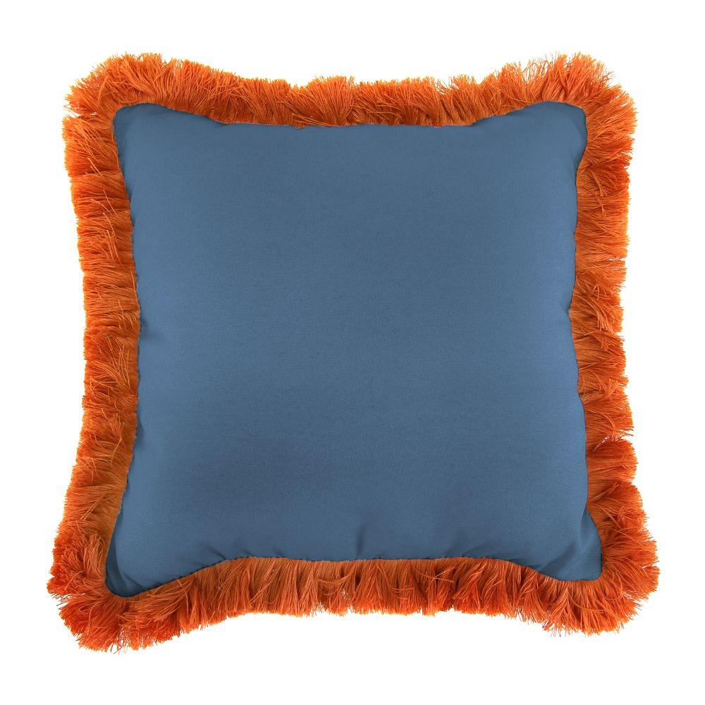 Sunbrella Canvas Sapphire Blue Square Outdoor Throw Pillow with Tuscan Fringe