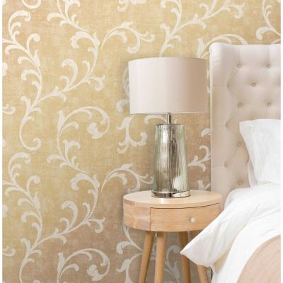 Dark Gold Trellis Scroll Wallpaper