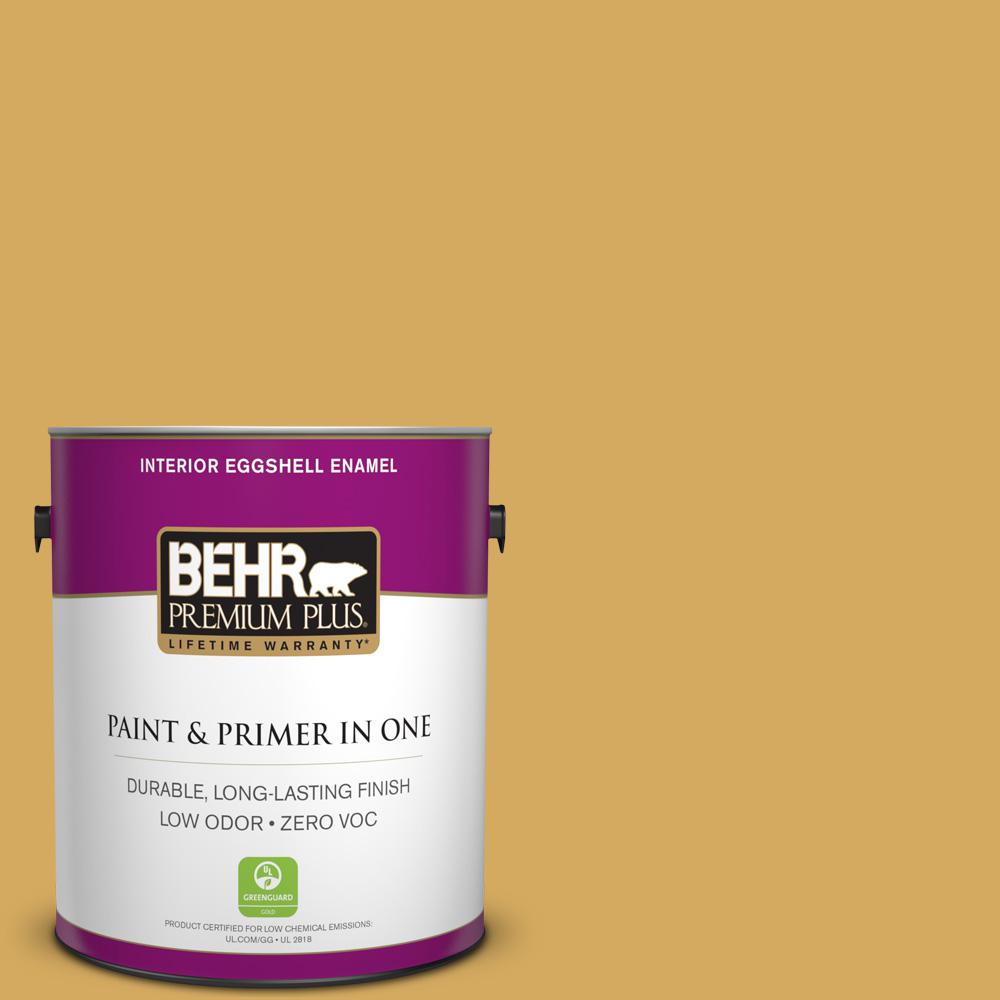 BEHR Premium Plus 1-gal. #350D-5 French Pale Gold Zero VOC Eggshell Enamel Interior Paint
