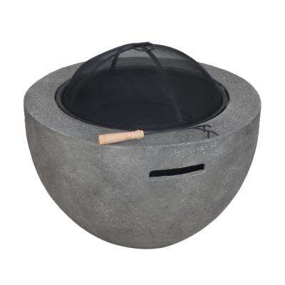 Fatima 32 in. x 20 in. Round MGO Wood Burning Fire Pit in Grey
