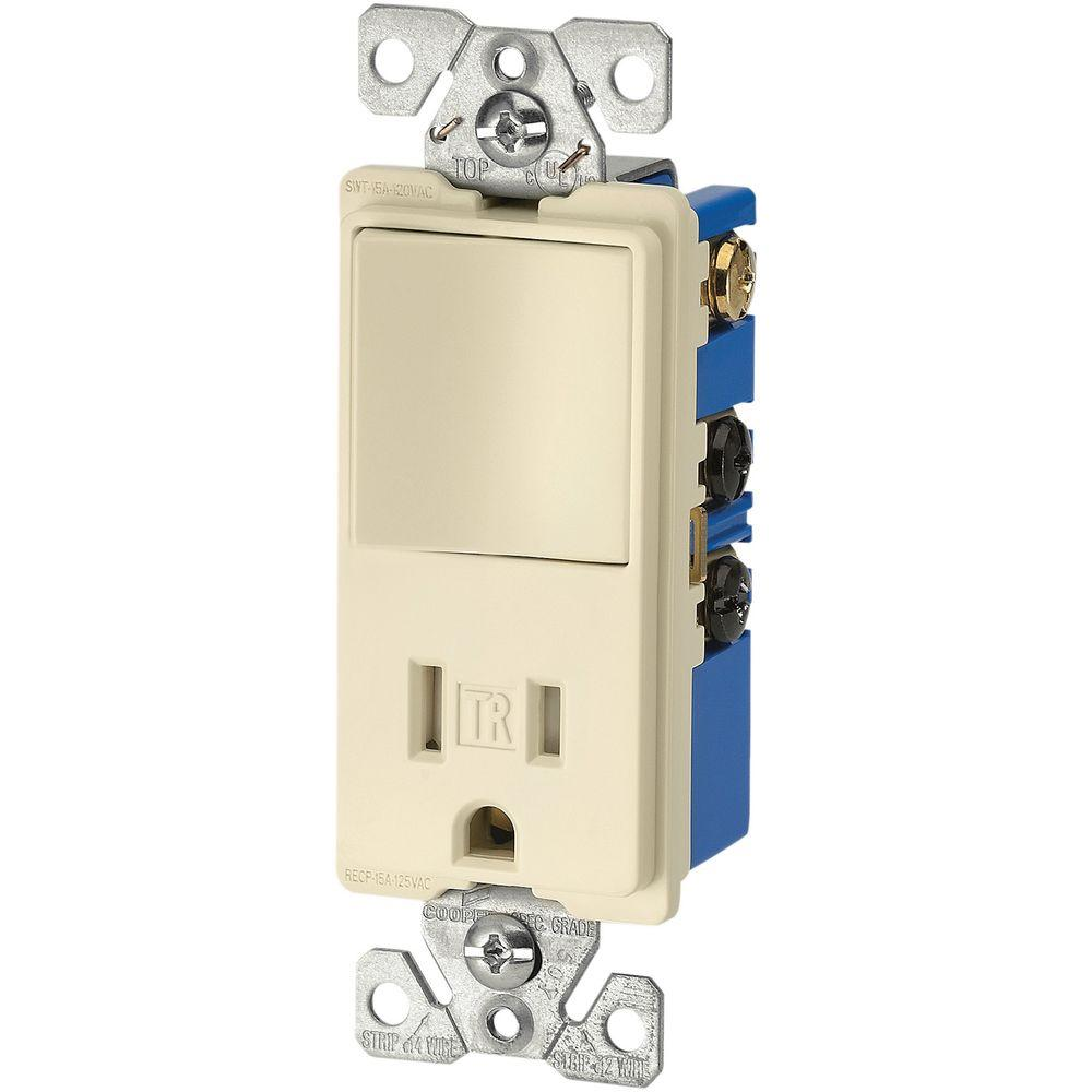 Eaton 15 Amp 3-Wire TR Receptacle 120-Volt Decorator Combination Single-Pole on