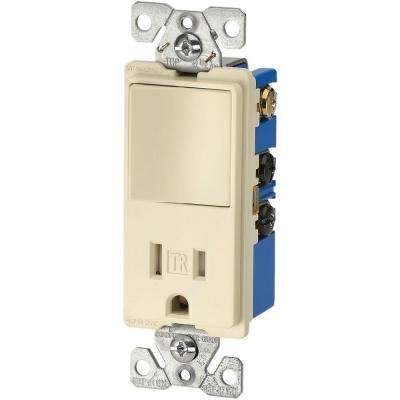 15 Amp 3-Wire TR Receptacle 120-Volt Decorator Combination Single-Pole Switch with 2-Pole, Almond