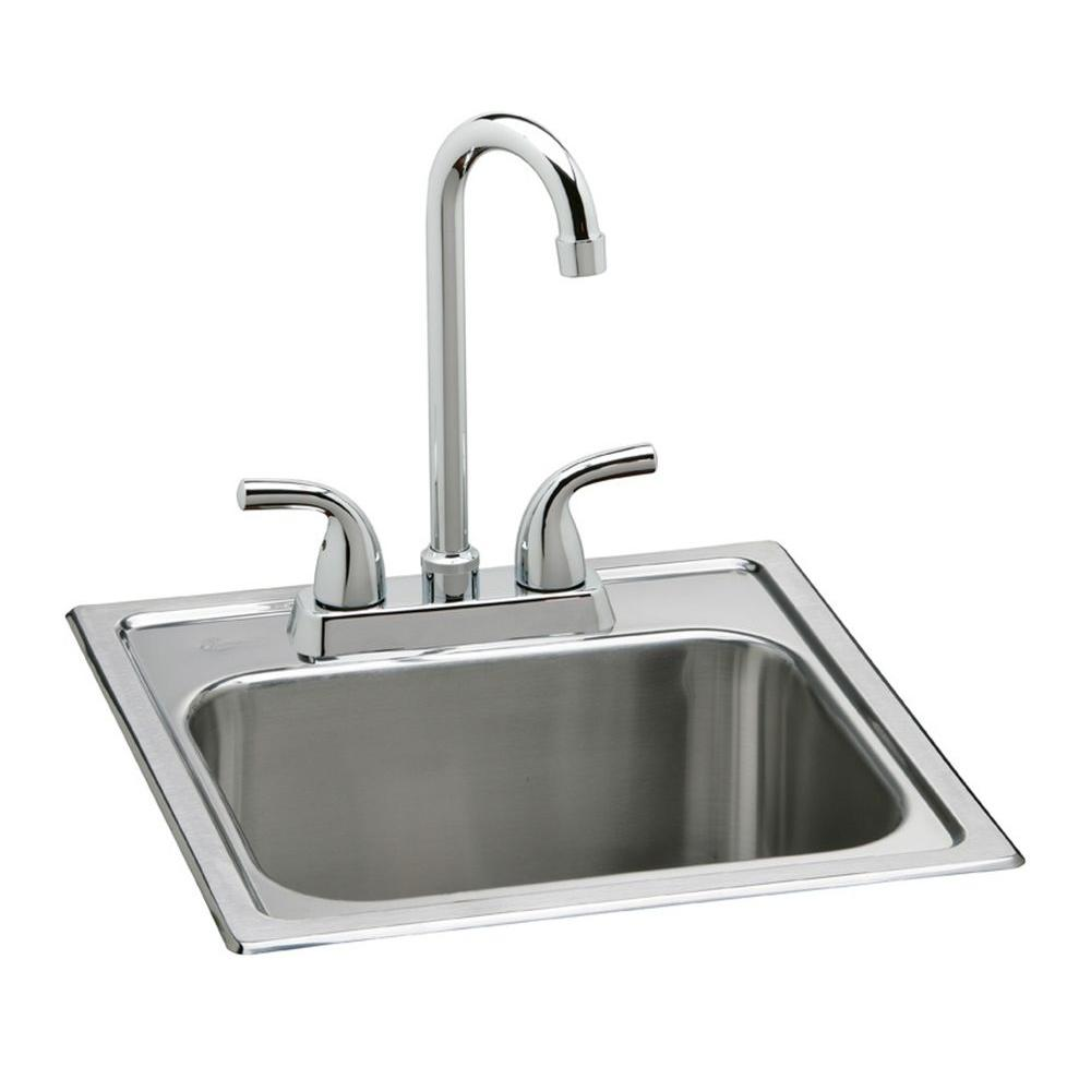 All In One Drop Stainless Steel 15 2 Hole Single Bowl Bar Sink
