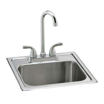 Neptune All-in-One Drop-in Stainless Steel 15 in. 2-Hole Single Bowl Bar Sink