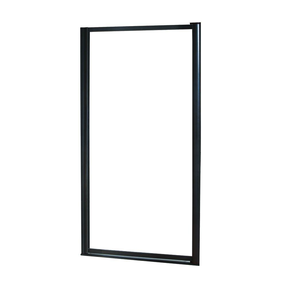 Foremost Tides 23 in. to 25 in. x 65 in. Framed Pivot Shower Door in Oil Rubbed Bronze with Rain Glass