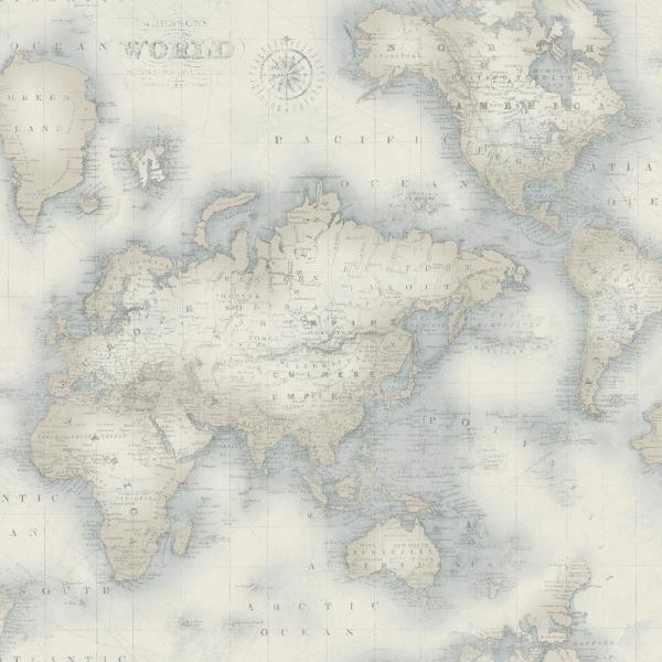 Mercator Blue World Map Wallpaper