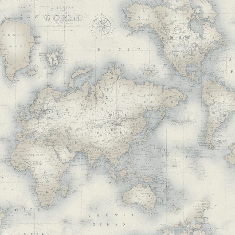 Chesapeake Mercator Blue World Map Wallpaper 3113-47547 - The Home Depot