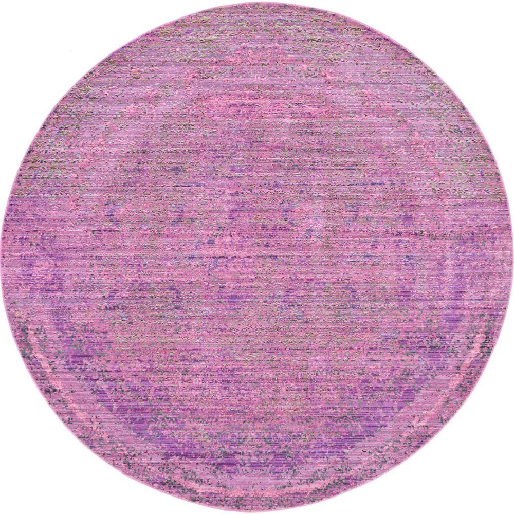 Unique Loom Aria Purple 6 ft. Round Area Rug