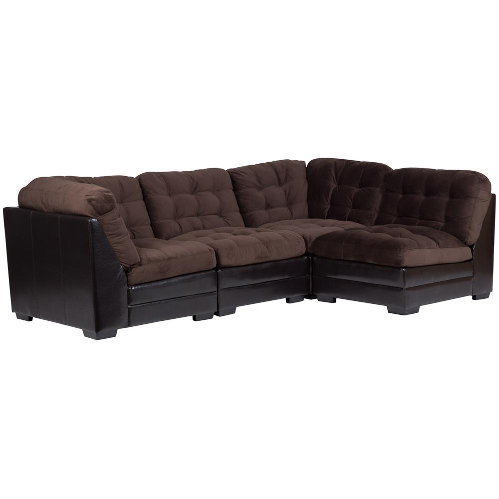 Morrison Contemporary Modular Chocolate Sectional with Ottoman (5-Piece)