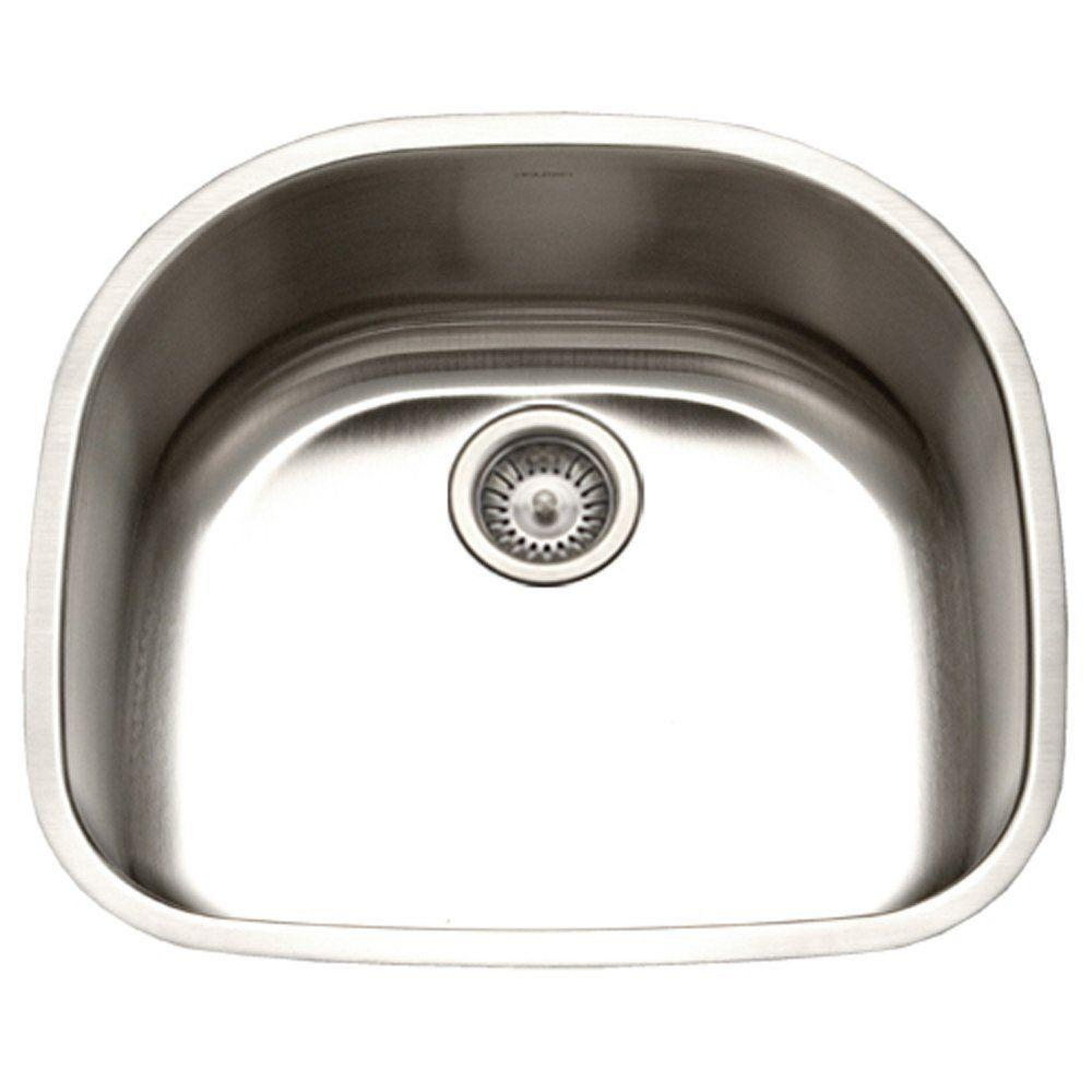 Charming Houzer Eston Series Undermount Stainless Steel 23 In. Single Basin Kitchen  Sink In Satin PNG 2400 1   The Home Depot