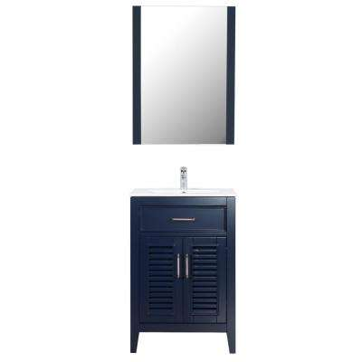 Marina Del Rey 24 in. W x 18 in. D Bath Vanity in Navy with Ceramic Vanity Top in White with White Basin and Mirror