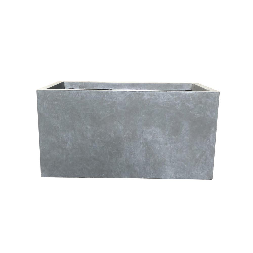 Lightweight Concrete Modern Long Low Grey Planter and Tall Light Grey Planter Combination