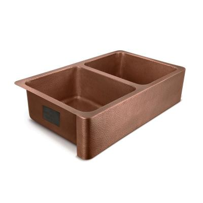 Moran Farmhouse Apron-Front Handmade Copper 36 in. 50/50 Double Bowl Kitchen Sink in Hammered Antique Copper